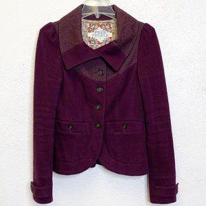 Free People Plum Knit Textured Jacket